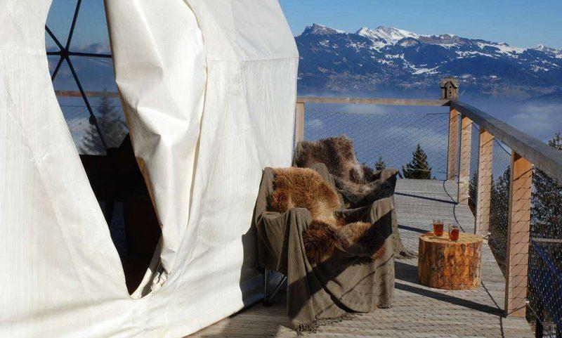 Whitepod hotel - winter - terrace two chairs